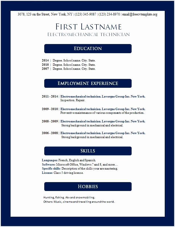 free resume format in ms word and resume template microsoft word 2007 elegant resume microsoft word resume elegant resume templates free794613