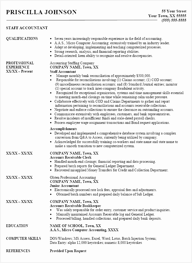 Template for Accounting Fresh Detailed Resume Related Post892650