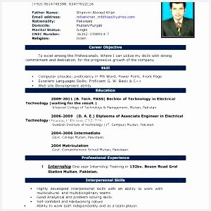 Download Resume Sample for Job Application New Cv format In Word Ozilmanoof300300