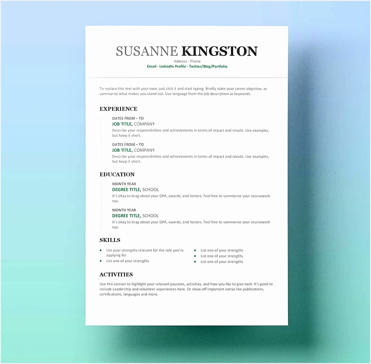 microsoft word resume with green details11781200