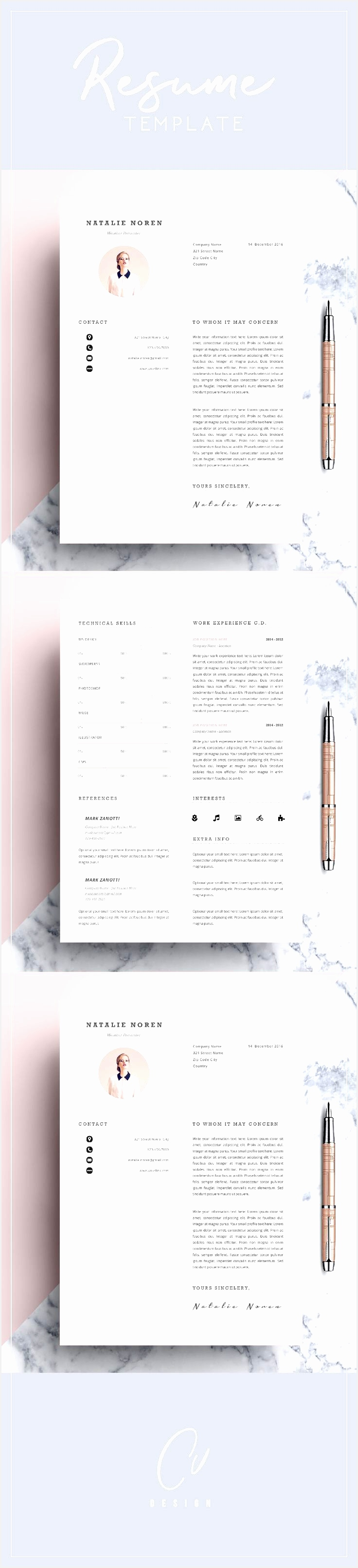 Professional Resume Template CV Template Editable in MS Word and Pages Instant Digital Download Size A4 and US Letter3213736