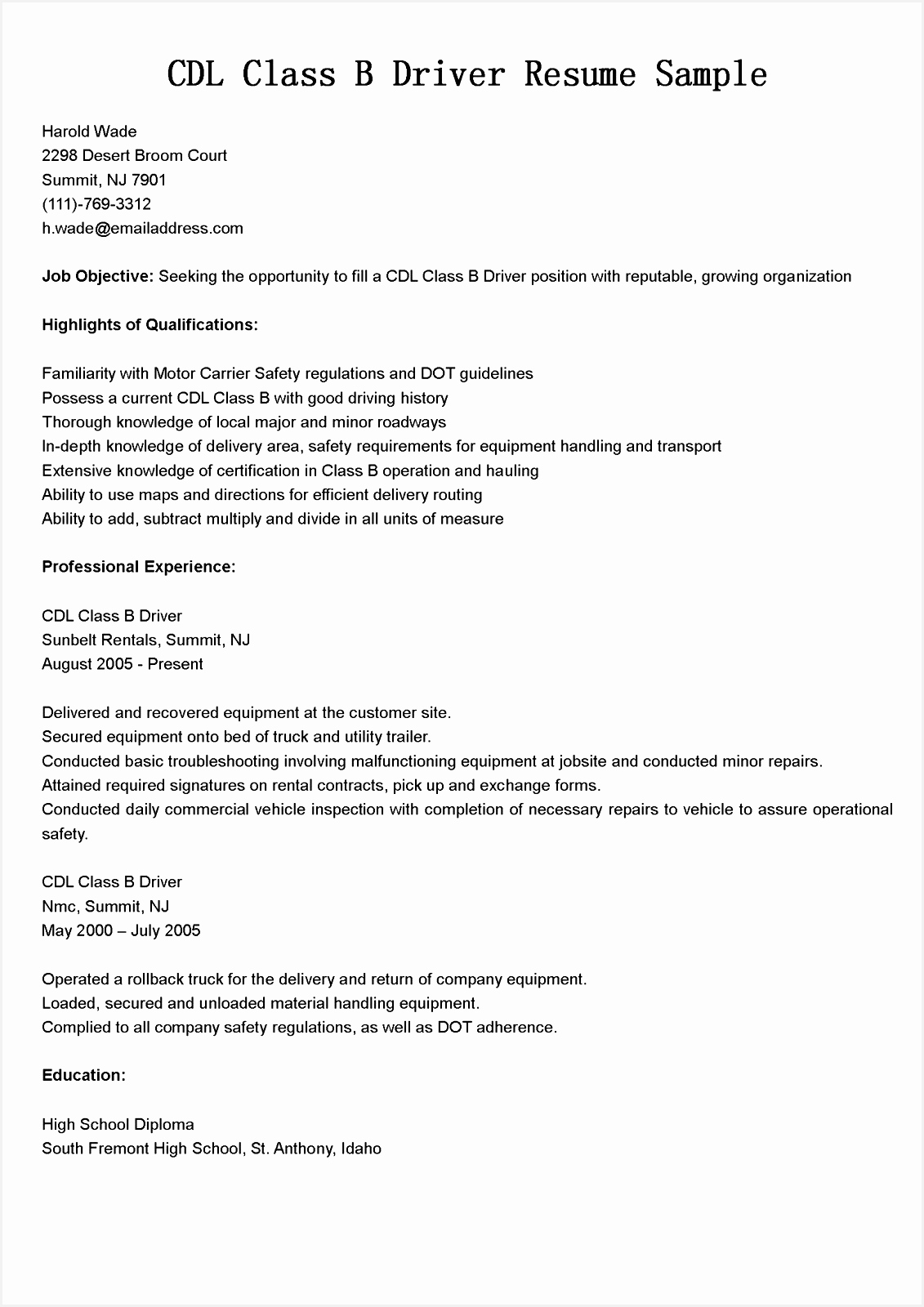 Best Resume Format Truck Driver Example Good Resume Template16001131