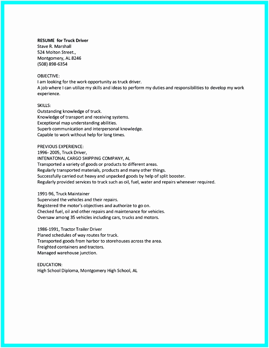 cdl driver resume templates sample Job and Resume Template1200927