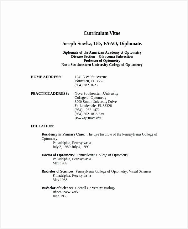 Professor Resume Template Adjunct Professor Resume Sample From Optometrist Resume Template 7 Free Word Pdf Documents730600
