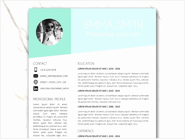 part of page 1 of resume template of emma smith with green and grey colors480640