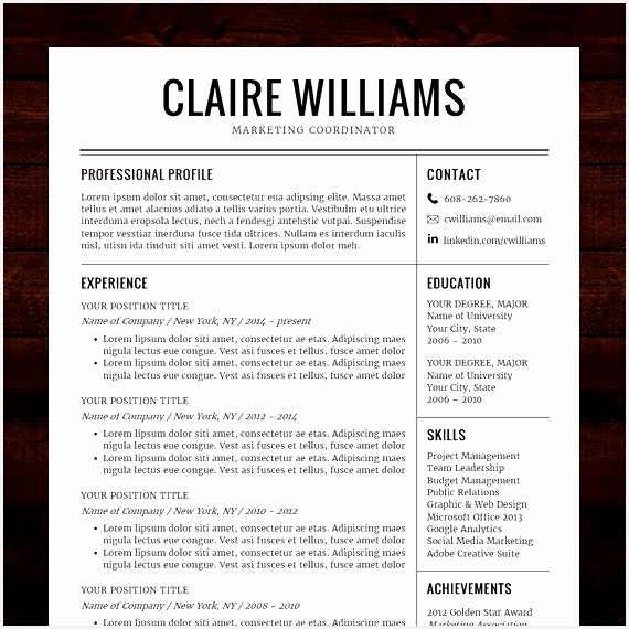 Resume CV Template Free Cover Letter Instant Download Mac or PC for Word Modern Professional Black The Claire570570