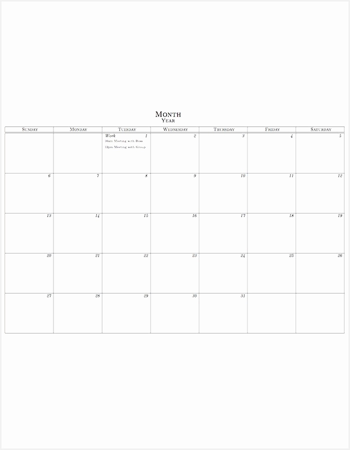 Monthly Calendar Template Organization Pinterest900700