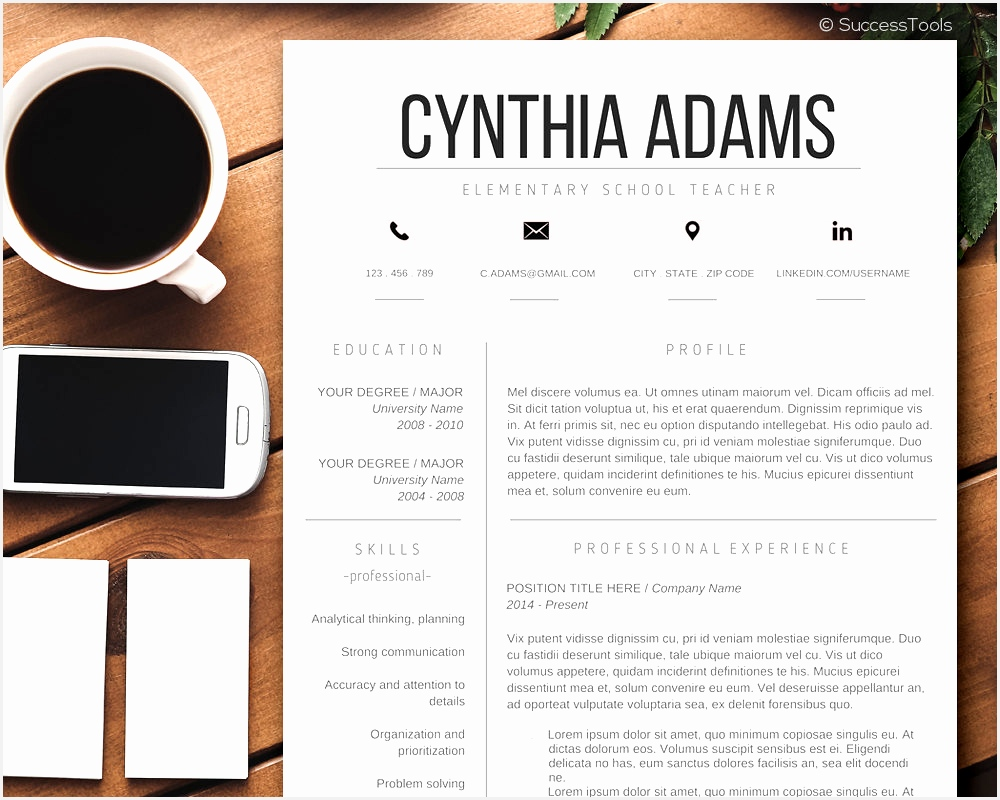 Teacher Resume Template Modern Word CV Within Contemporary Templates8001000