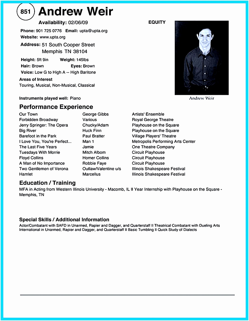Resume Template Microsoft Word Acting Samples Free Download How Information13501048