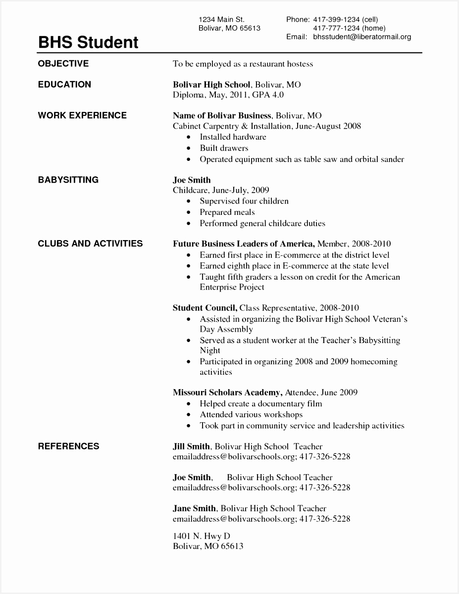 Resume for Middle School Students New Template Unique Resume for Highschool Students Excellent Resumes 0d High1200927