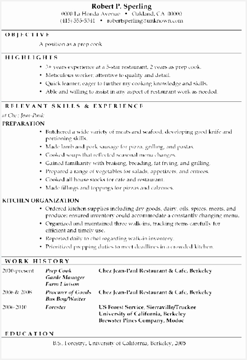 Prep Cook Resume Sample Luxury Resume Sample Prep Cook Restaurant Resume Sample Ixjeod Awesome 507355042nJin