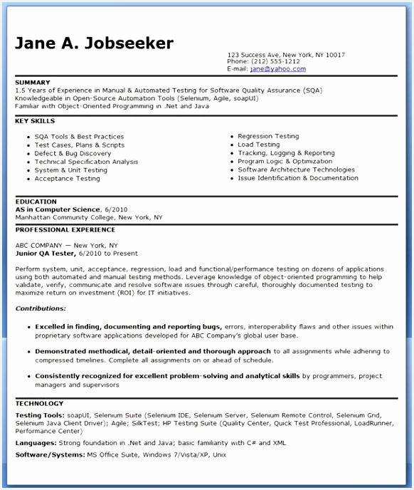 QA Software Tester Resume Sample Entry Level688582