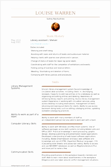 Library Assistant Resume samples VisualCV resume samples database564376