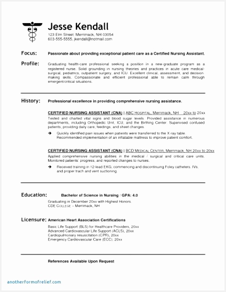 Examples Of Registered Nurse Resume E4hxr Best Of Resume for Med Surg Nurse – Resume Cna New Rn Bsn Resume Awesome Of 9 Examples Of Registered Nurse Resume