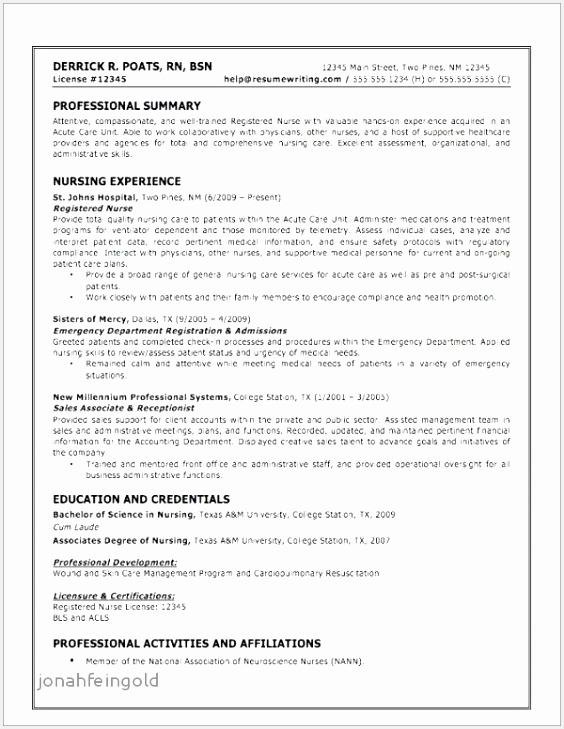 Examples Of Registered Nurse Resume Jhrru Lovely Professional Summary for Nurse Resume Elegant Examples Skills Of 9 Examples Of Registered Nurse Resume
