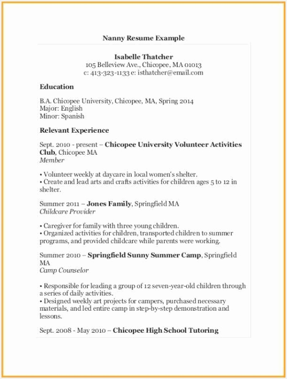 Examples Resumes for Jobs Znhah Inspirational Child Care Resume Skills Unique Sample Job Resume Unique Luxury760575