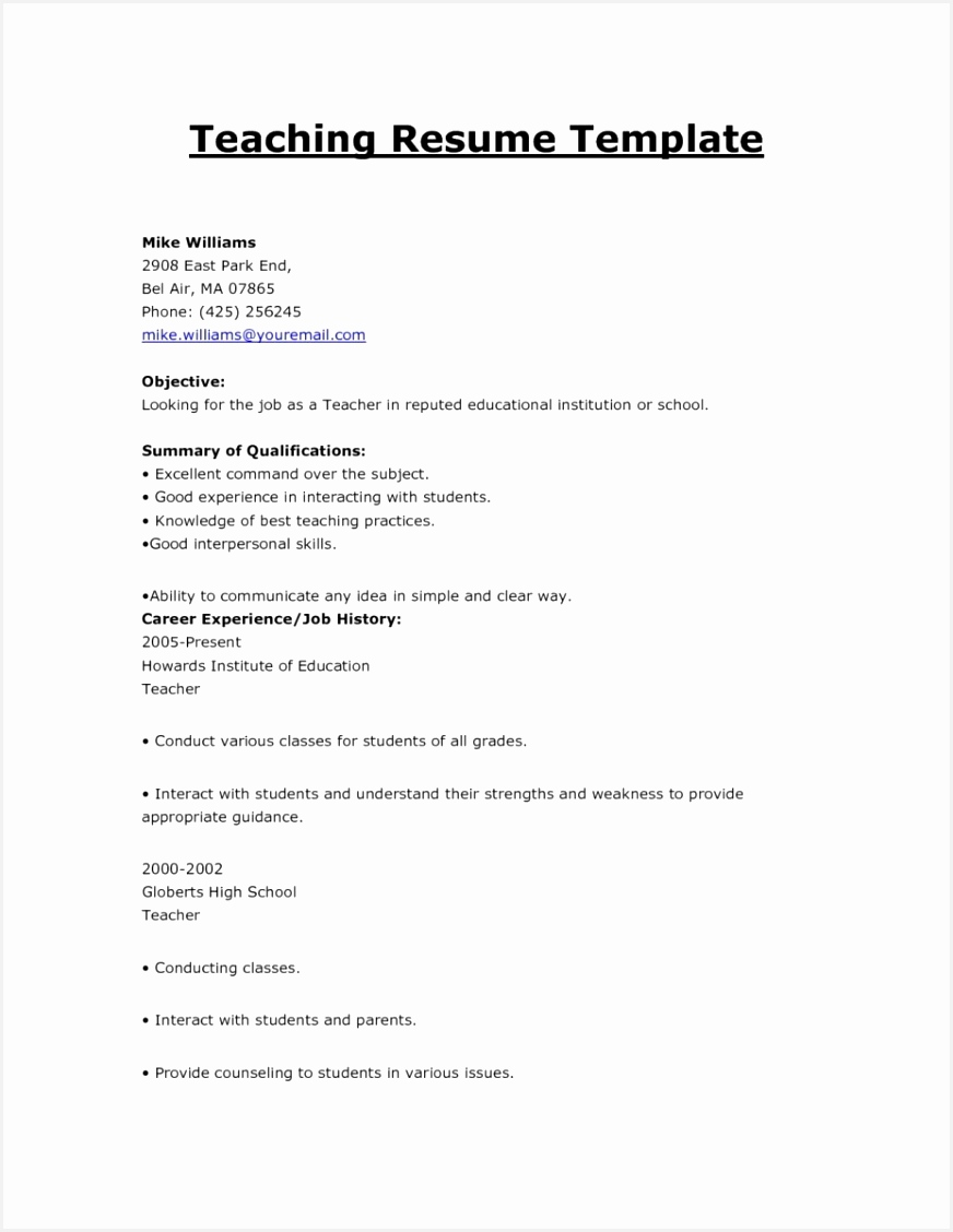 Head Teacher Resume U2l2j Inspirational 22 Resumes for Teachers Professional Of Head Teacher Resume Tawan Fresh Substitute Teacher Resume Samples Fresh Sample Resume for Head