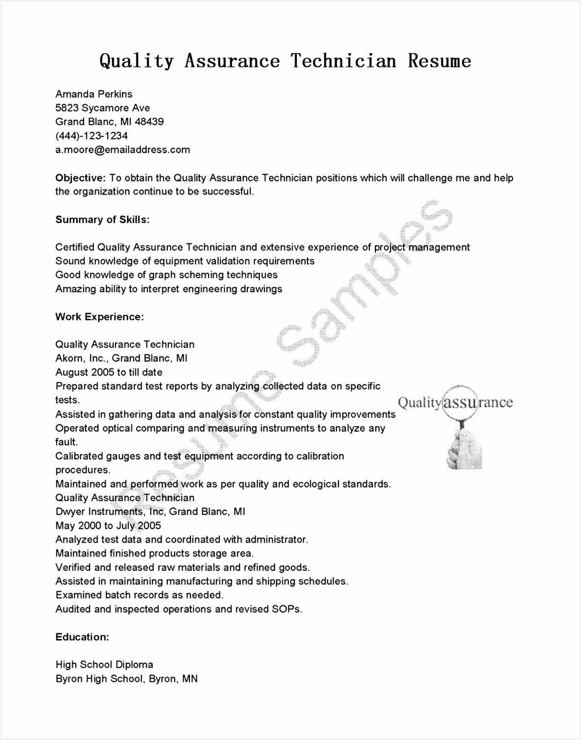 Quality Control Inspector Resume Sample Kuaaq Lovely Precision Inspector Resume New Quality Inspector Resume Superb Qa15041181