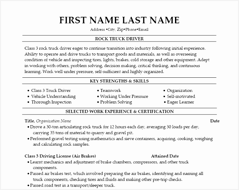 Resume Templates for Truck Drivers G4pss Unique Resume for Truck Driver New 38 Gorgeous Resume Samples for Truck Of 9 Resume Templates for Truck Drivers