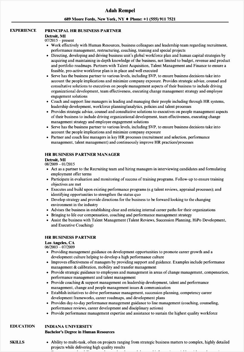 Download HR Business Partner Resume Sample as Image file 1165808sfs5u