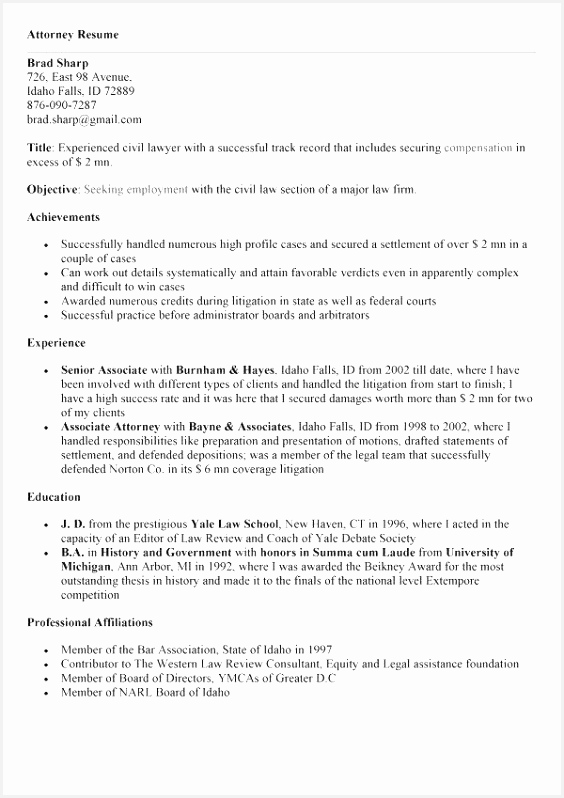 Civil Law attorney Resume Stvdl Awesome 30 Best Sample Legal Resumes Of 7 Civil Law attorney Resume
