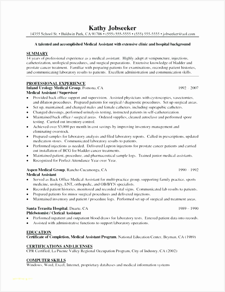 Entry Level Medical Resume Tgeru Lovely Medical assistant Resume Objective Examples Entry Level Of 4 Entry Level Medical Resume