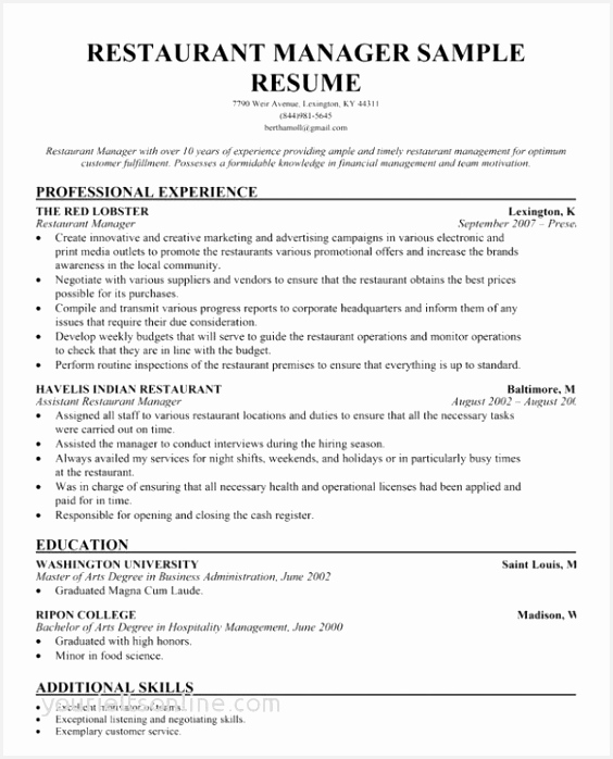 Manager Resume Sample Restaurant Related Post 698564hIgEf