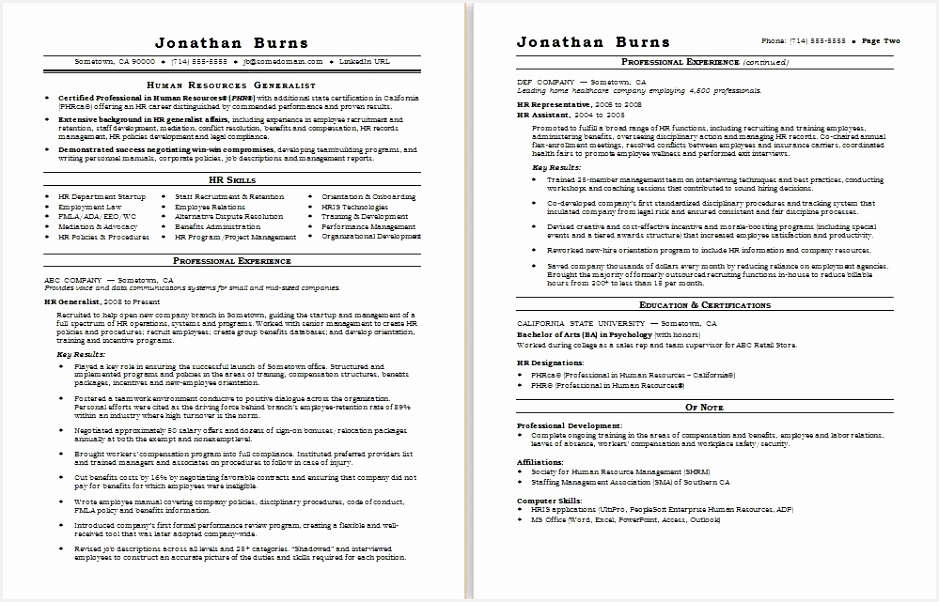 Sample resume for a human resources generalist 6029396uukf