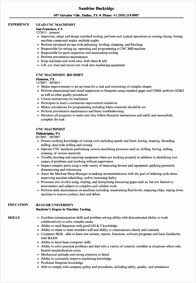 Machinist Resume Examples Pgdrg Inspirational Cnc Machine Operator Resume Sample Sample Cnc Machinist Resume Of 6 Machinist Resume Examples