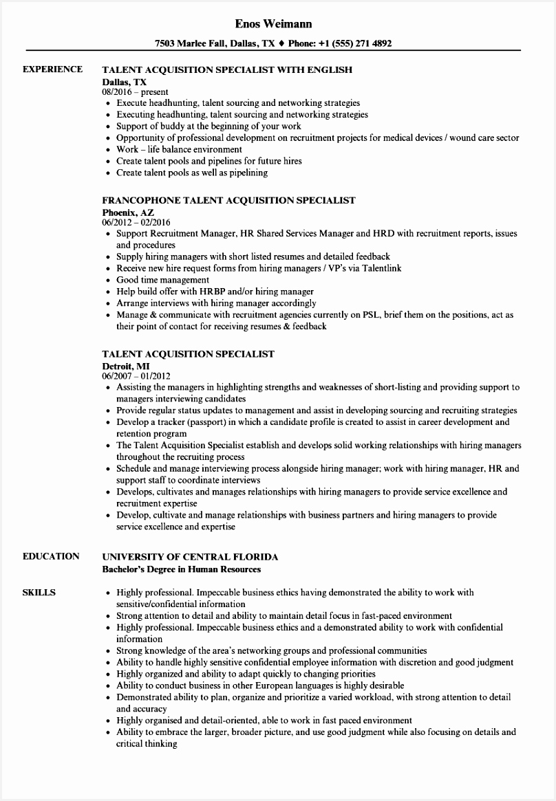 Network Specialist Sample Resume Whvid Fresh Talent Acquisition Specialist Resume Samples1165808