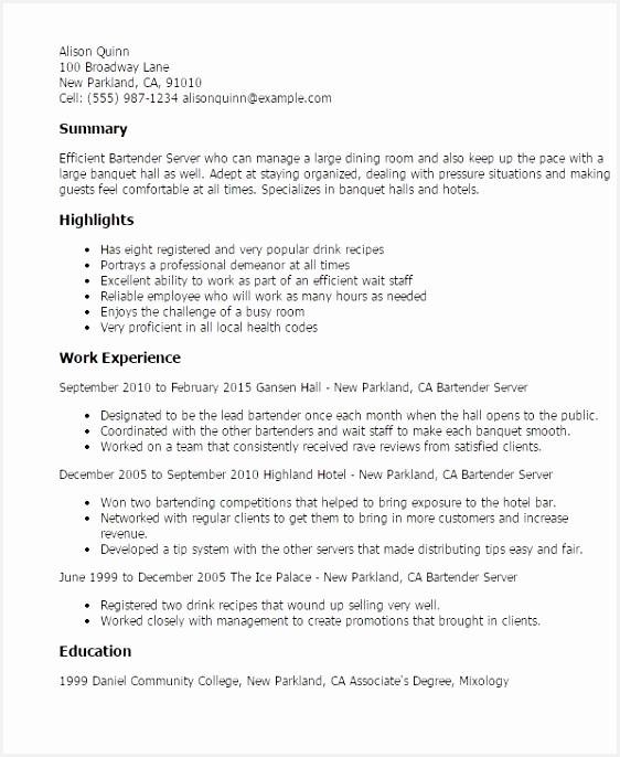 Resume Examples Bartender Ksd5t Elegant Example Cv Bartender Cv Sample – Server Bartender Resume Of 6 Resume Examples Bartender