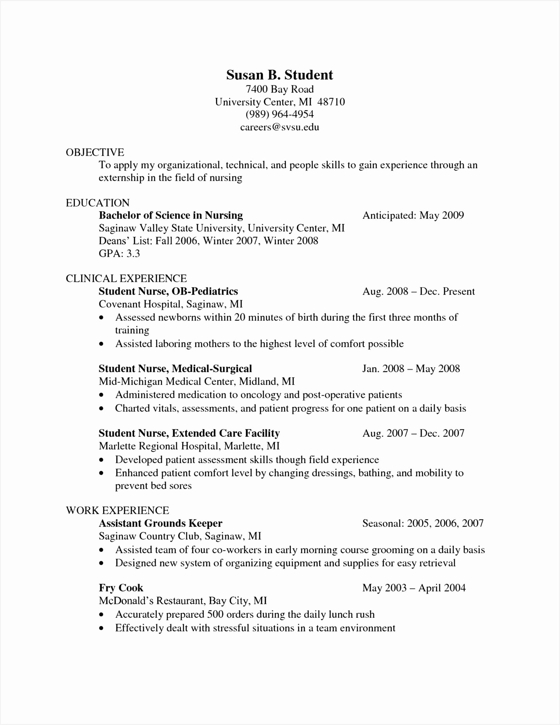 Resume Recent Graduate Yryqf New Graduate Nurse Resume Luxury Resume for Nurse Luxury New Nurse Of 9 Resume Recent Graduate