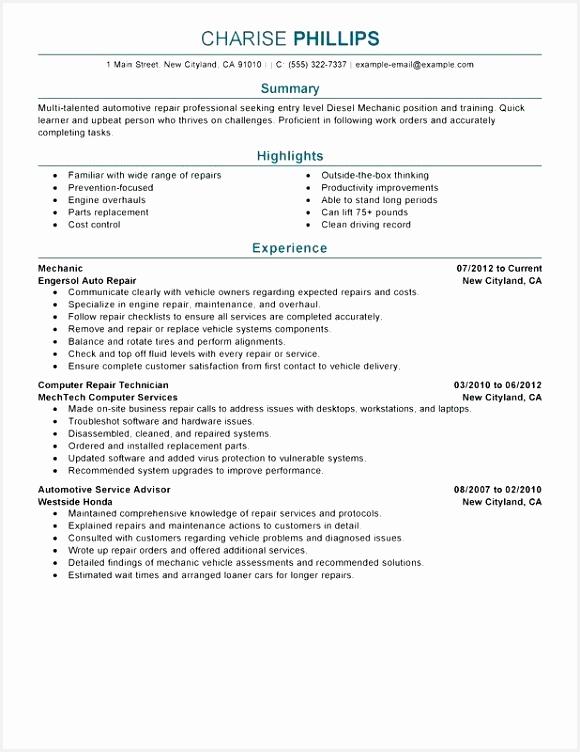 Mechanic Resume Examples Entry Level Mechanic Resume Sample Military Aircraft Mechanic Resume Examples 752580dhwhb