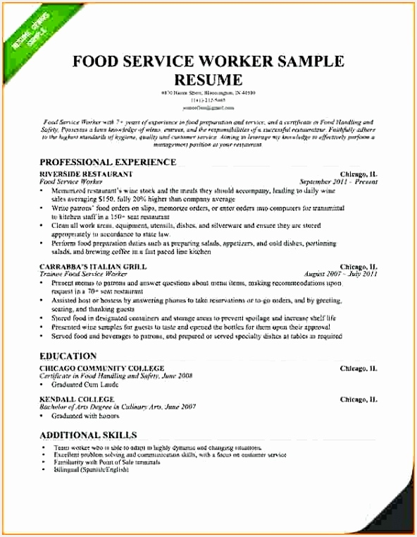 Restaurant Server Resume Sample New Resume Samples for Food Service Coachfederation 761592gsrhn