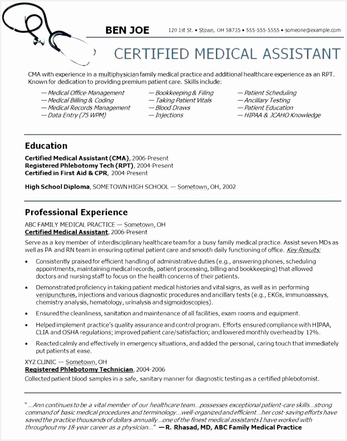 54 Genuine Sample Resumes for Medical assistants 8776915hcrj