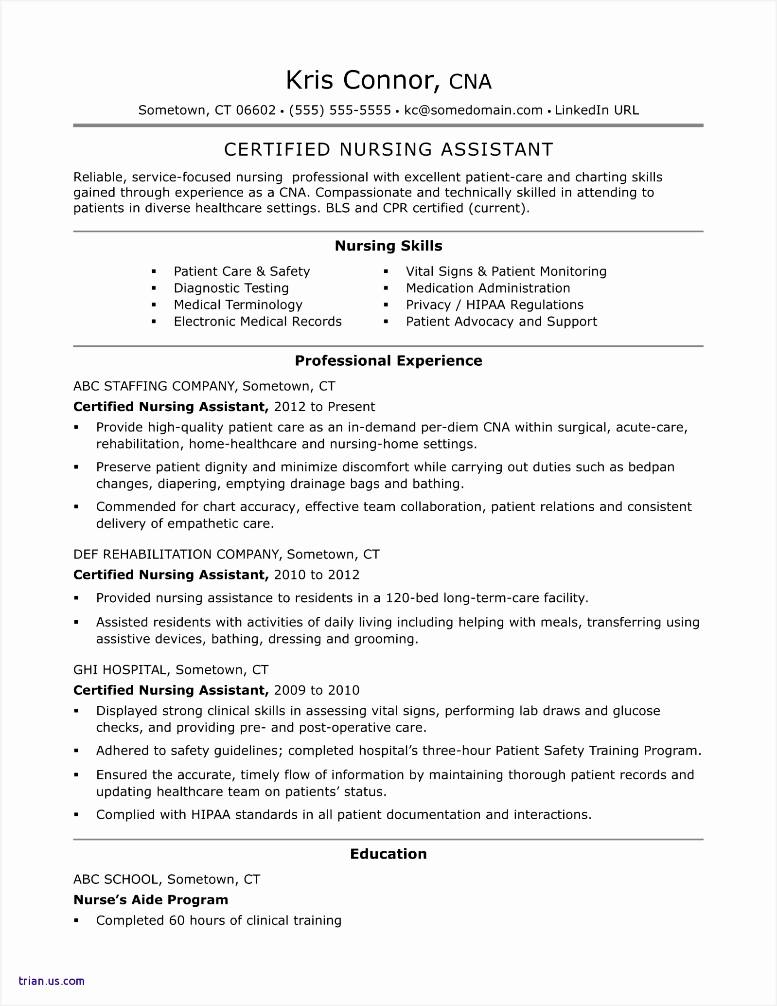 Certified Nursing Assistant Sample Resume 20681598qfebt