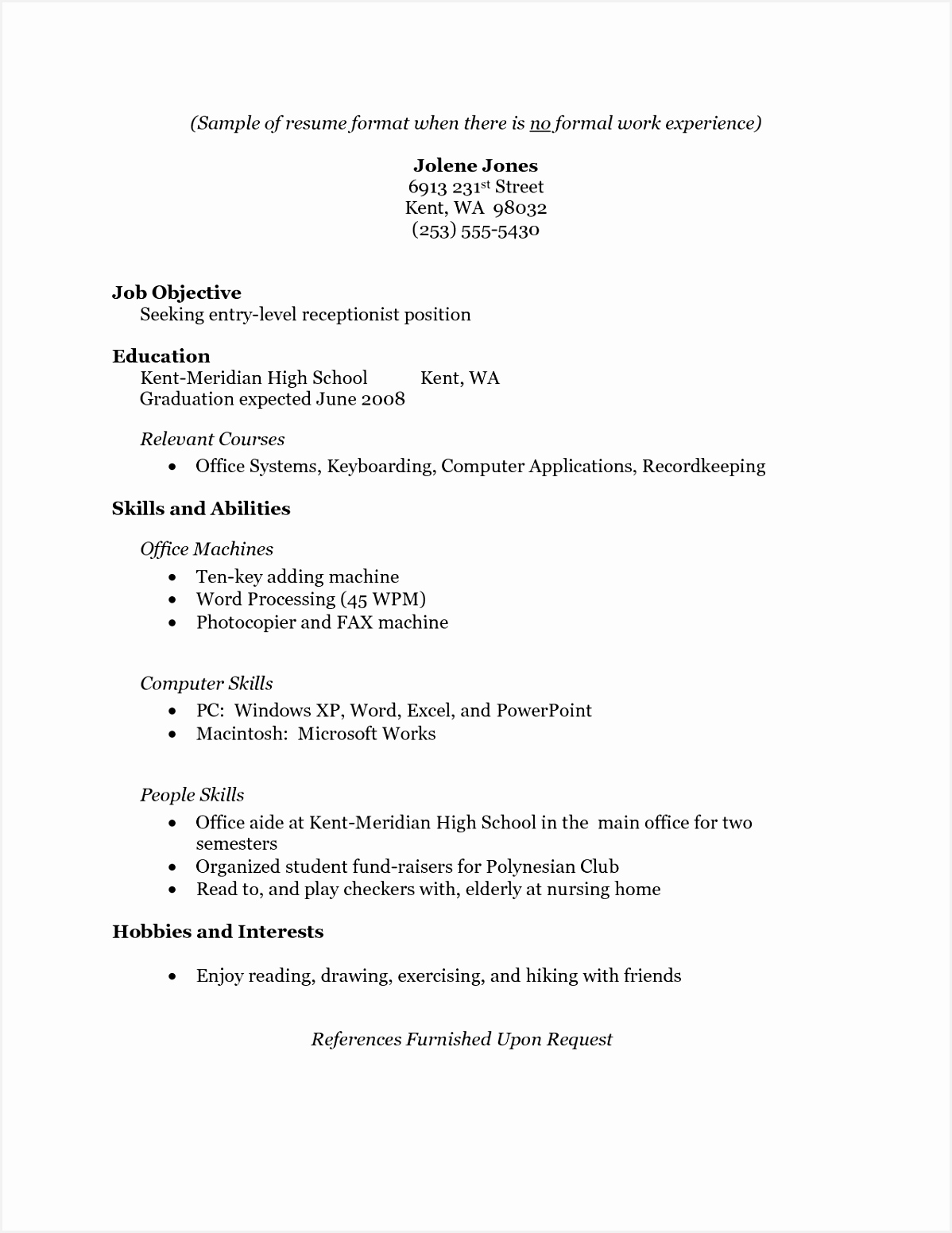 7 sample resume without work experience bvdkoe