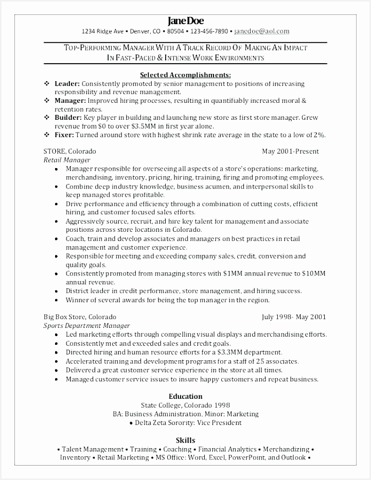 Retail Resume Sample Retail Store Manager Resume Best Retail Resume 0d Archives 9347215crRb