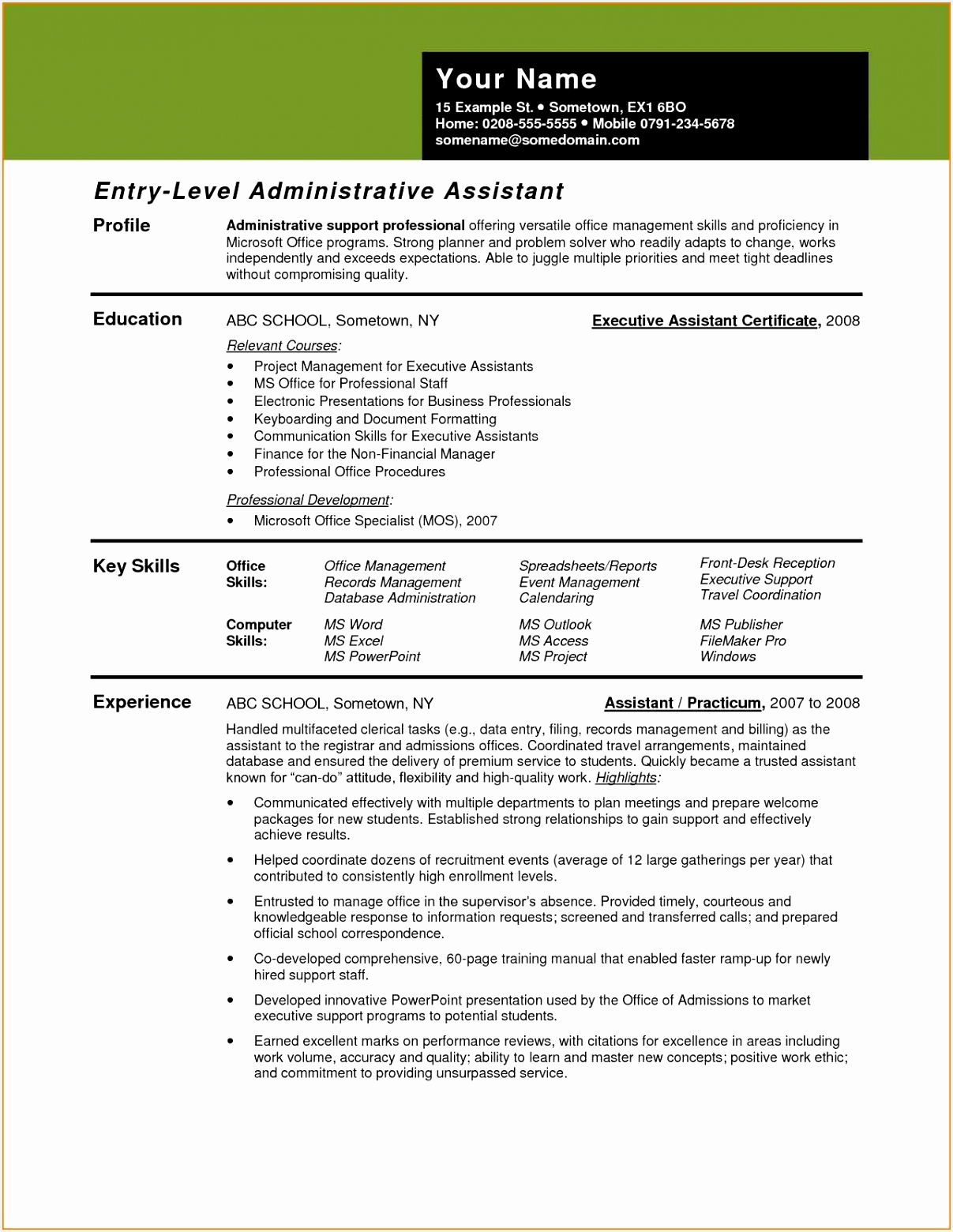 Full Size of Sample Resume Format Administrative Assistant New Samples For Examples Template Executive Beautiful Ssis 15601207awgo
