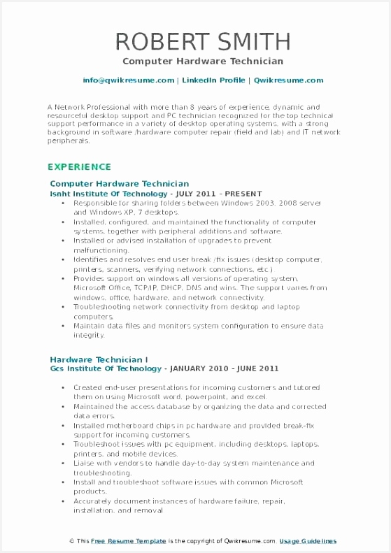 puter hardware technician resume example knowledge 791559sishl
