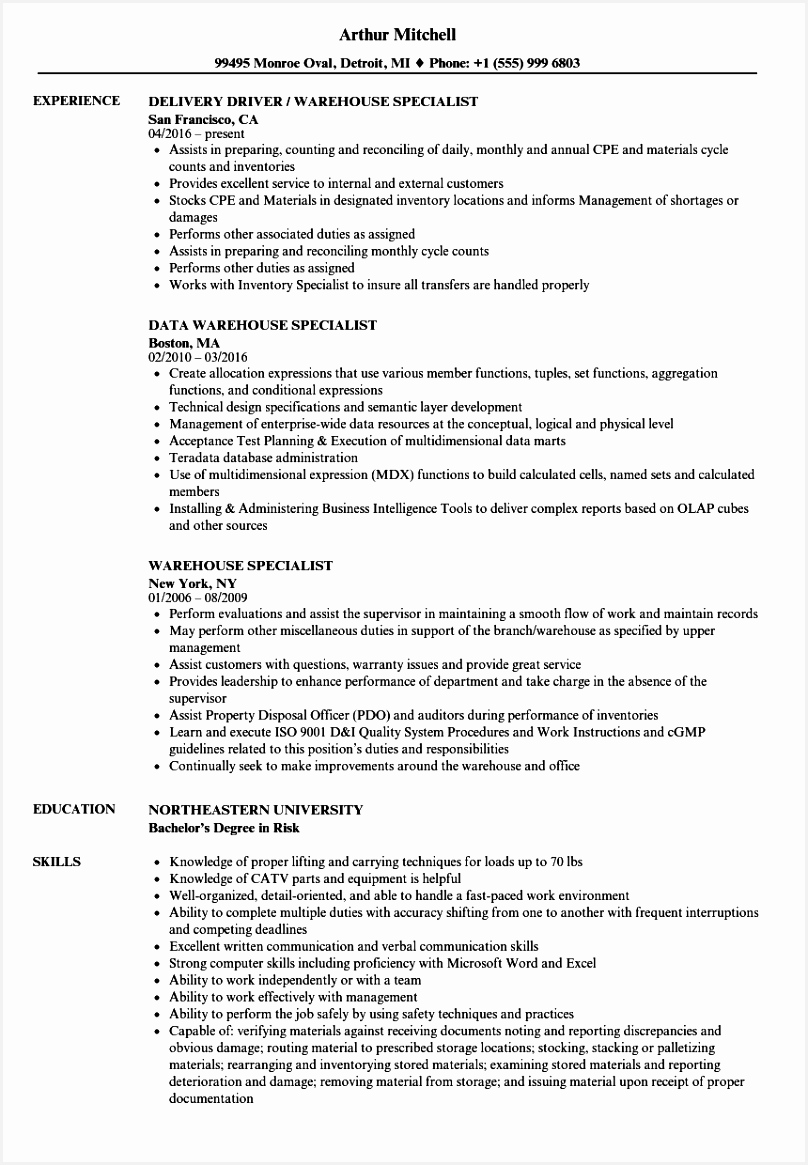 Download Warehouse Specialist Resume Sample as Image file 1165808lvIgf
