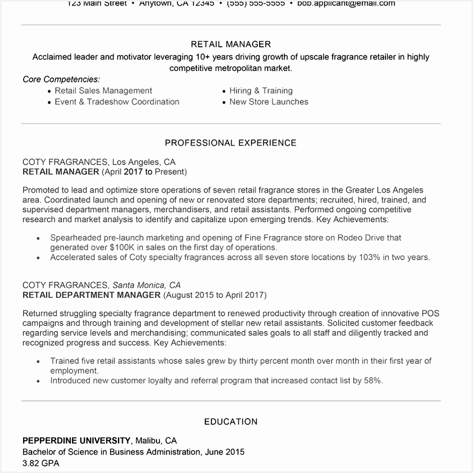 Concession Worker Sample Resume Scjhg Beautiful Retail Management Cover Letter and Resume Examples940940