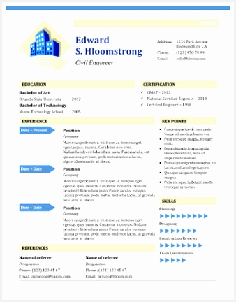 Civil engineer s resume template for MS Word 432338cRvkl