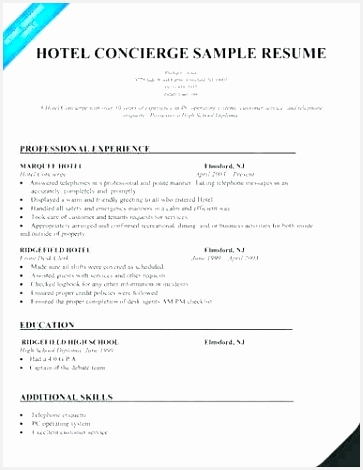 Residential Concierge Resume Sample Luxury Inspirational Hotel Objective 470363vnfrt