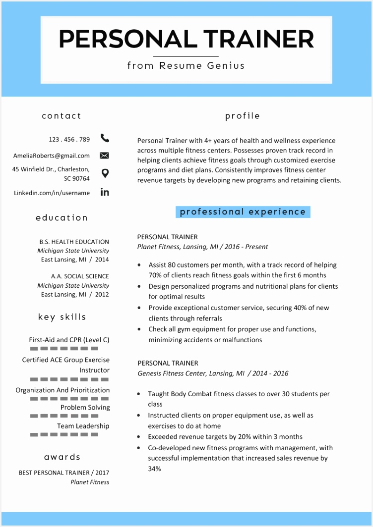 personal trainer resume example template 10647527eu4f