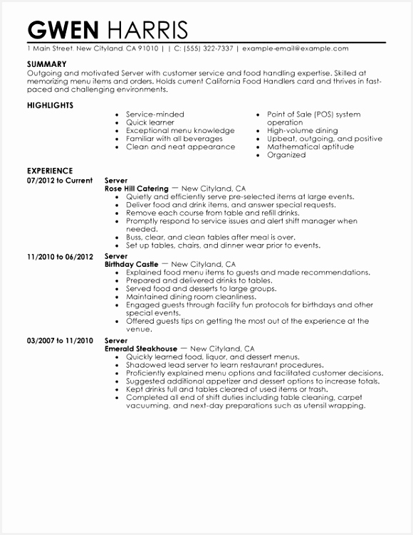 Resume Examples For Servers examples resume resumeexamples servers 752580ieou