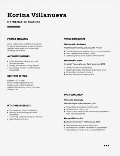 Light Simple Teacher Resume 517399thfaD