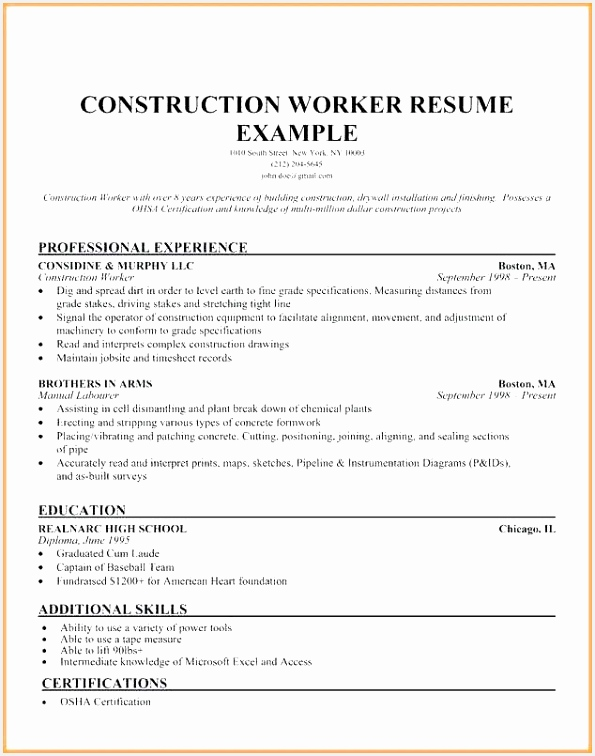 Construction Worker Resume Best Construction Resume Examples Sample Construction Worker Resume Construction Worker Resume 756595fbwhq