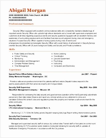 Security Guard Resume Sample No Experience Examples Security Resume Samples From Best Security Post Mander Resumes 535411efeik