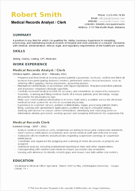 Medical Claims Analyst Sample Resume Ugcft Elegant Medical Records Summary Template – Actpherdfo791559